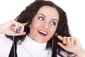 Woman with mp3 player — Stock Photo