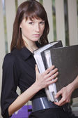 Secretary with document folders — Stock Photo