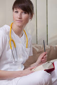 Medical student with book — Stock Photo