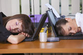 Tired office workers — Stock Photo