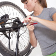 Chain change on bike - Stock Photo