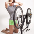 Stock Photo: Trouble with bike