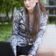 Young business woman with laptop — Stock Photo #3401820