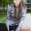 Young business woman with laptop — Photo