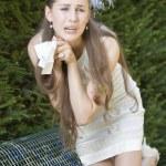 Crying bride with handkerchief — Stock Photo #3478451