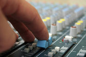 Hand on sound mixer — Stock Photo