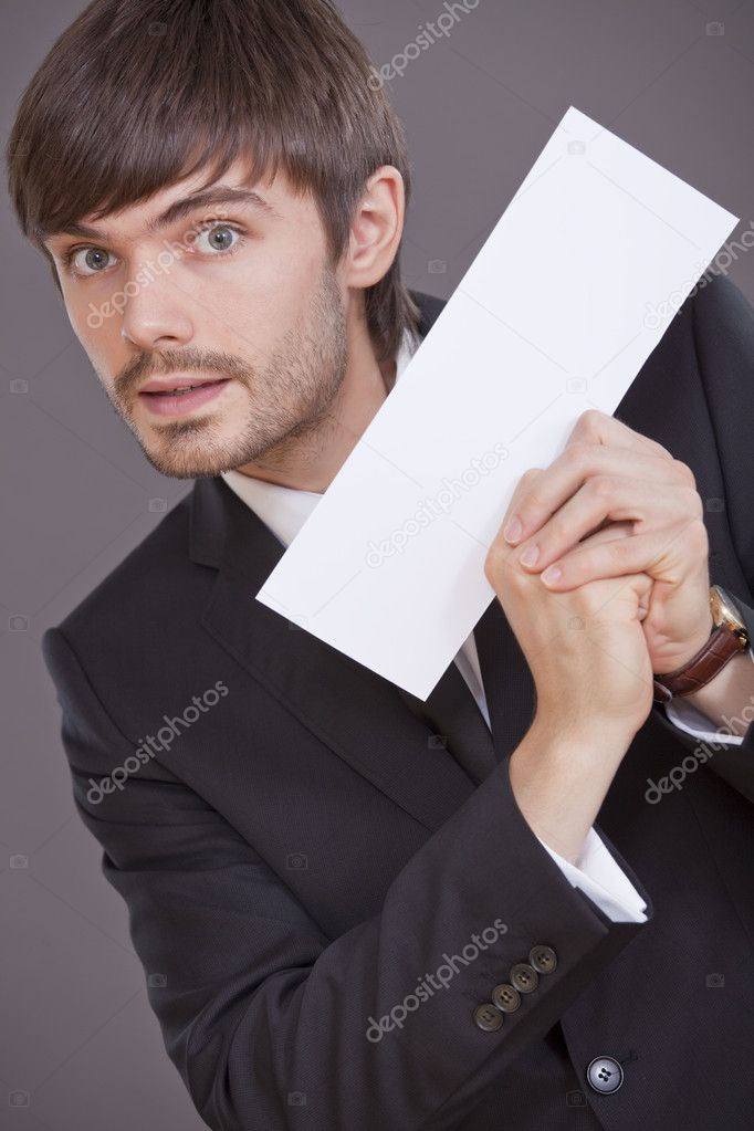 Happy businessman holding blank card to write your own message  Stock Photo #3599899