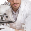 Researcher with microscope — Foto Stock #3605425