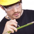 Construction worker with pen — Stock Photo