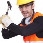 kızgın işçisi çekiç ile — Stok fotoğraf