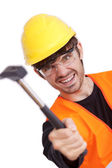 Angry carpenter — Stock Photo