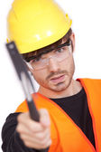 Trabajador manual con martillo — Foto de Stock