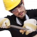 pracownik szlifowania drewna — Zdjęcie stockowe
