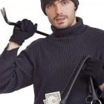 ladrão com saco de dinheiro — Foto Stock
