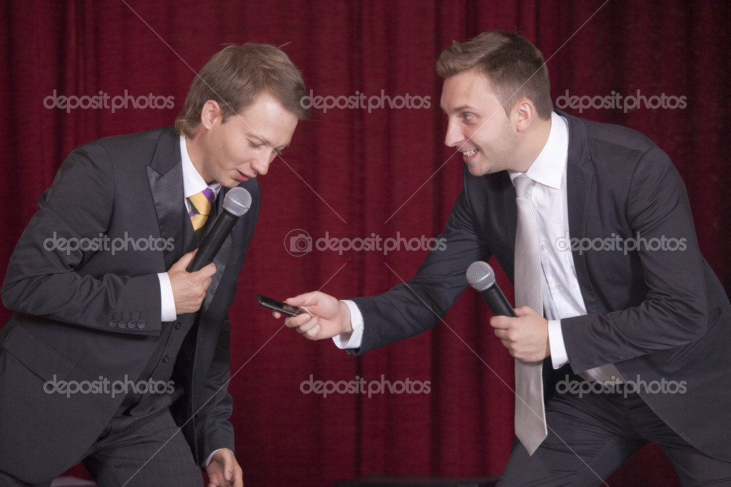 Two male comedians on the stage playing theater — Stock Photo #3694400