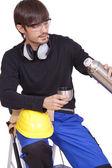 コーヒーを飲むの建設労働者 — ストック写真