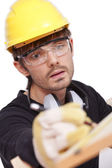 Worker making notice — Stock Photo