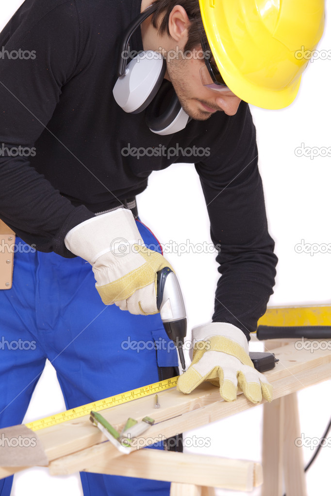Construction worker screwing with power tools - isolated on white — Stock Photo #3711785