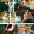 Car breakdown collage — Stock Photo