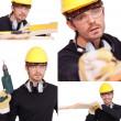 collage di lavoratore manuale — Foto Stock