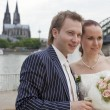 Wedding couple in cologne — Stock Photo