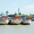 Three boats on mekong — Stock Photo