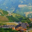 Stock Photo: Rice terraces and old Chinese village