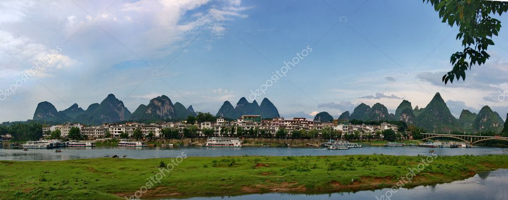 Evening panorama of the River Lee in the village of Yangshuo  Stock Photo #2924999