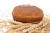 Bread with wheat and ears — Stock Photo