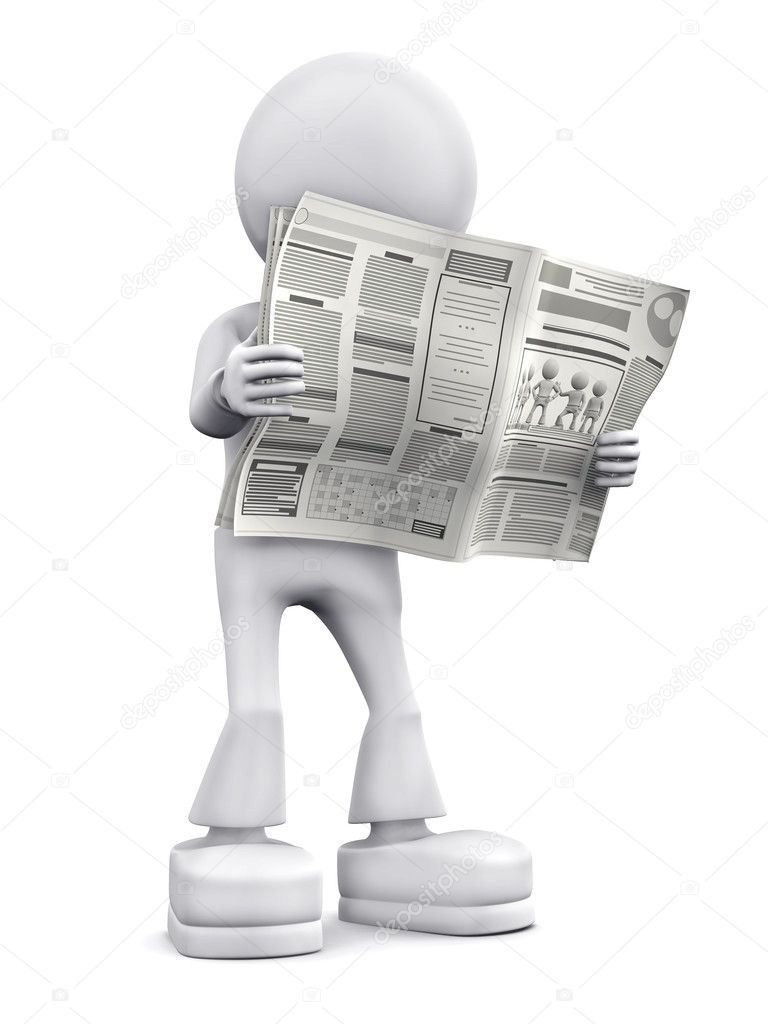 Person read newspaper. 3d image isolated on white background. — Stock Photo #2769349