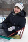 Smiling girl in winter — Stock Photo