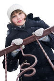 Girl at the balcony in winter day — Stock Photo