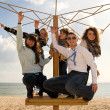 Teenage friends company at the beach — Stock Photo #3188160