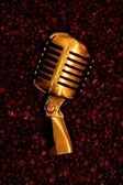 Retro-styled golden microphone — Stock Photo