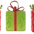 Stock Photo: Line of seven isolated Christmas gifts