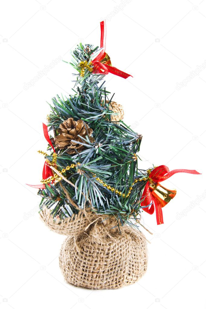 Decorated toy fur tree on white — Stock Photo #3194136