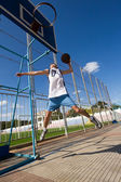 Basketball player is aiming the basket — Stock Photo