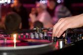DJ playing vinyl — Stock Photo