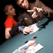 Lucky poker players — Stock Photo