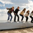 Five friends on the boat — Stock Photo