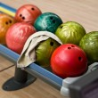 Bowling balls in the rack - Stock Photo