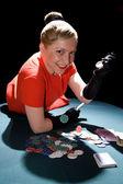 Gambling young woman — Stock Photo