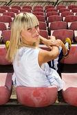 Female basketball player sitting — Stock Photo