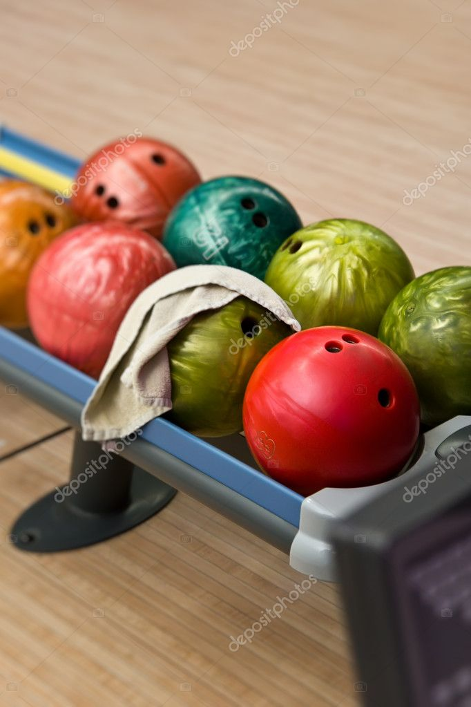 Balls for bowling on a shelf — Stock Photo #3232036