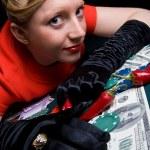 Gambling young woman — Stock Photo #3264399