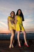 Two sexy young girls in short dresses — Stock Photo