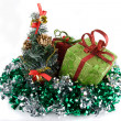 Christmas gifts in sprangle — Stock Photo