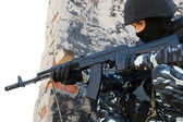 Soldier with automatic russian AK47 rifle — Stock Photo
