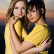 Two sexy young girls embracing each other — Stock Photo
