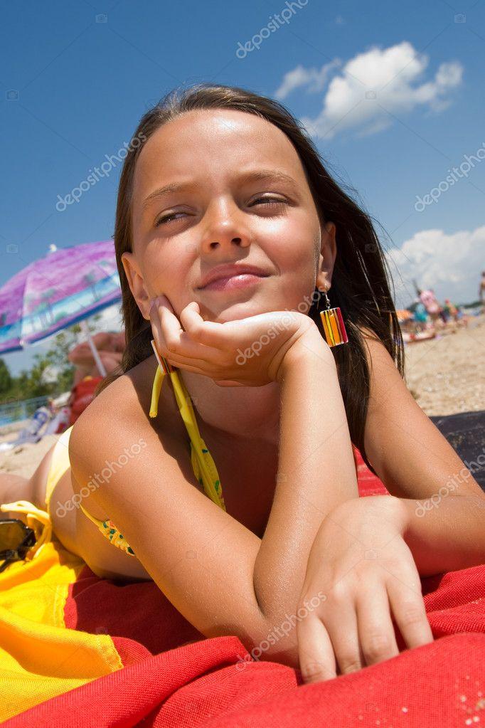 Depositphotos Stock Photo Little Girl Sunbathing At The Hot Young Girls Models Bikini